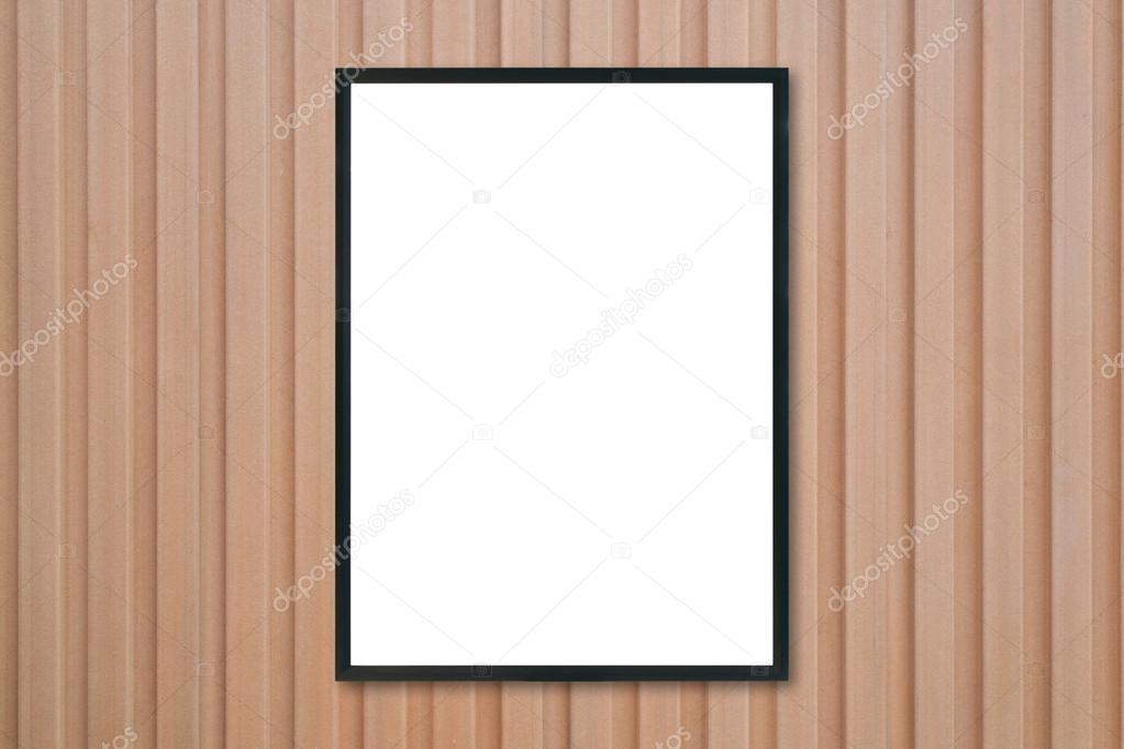 Mock up marco de cartel en blanco en madera de la pared — Fotos de ...