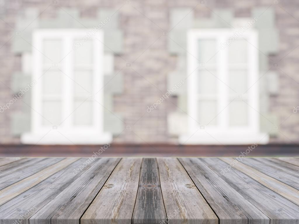 Wooden Board Empty Table In Front Of Blurred Background Perspective Grey Wood Over Blur Ceramic