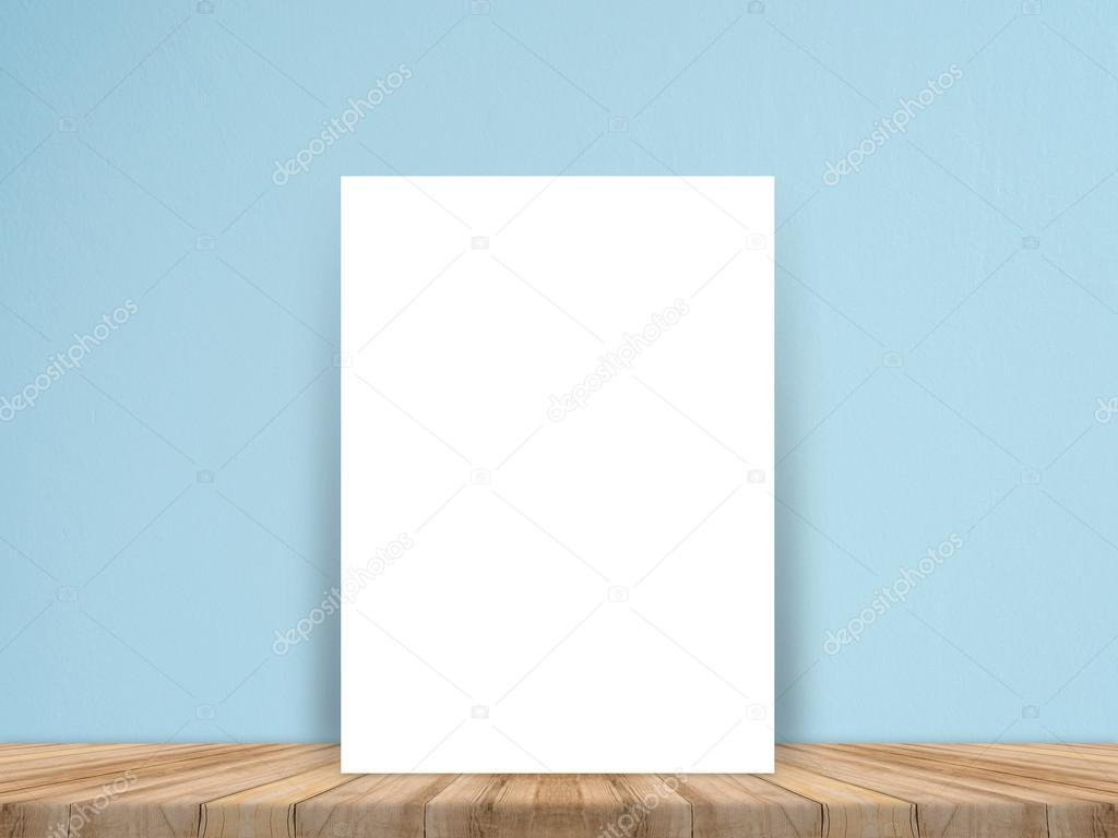 Blank white paper poster on plank wooden floor and concrete wall ...