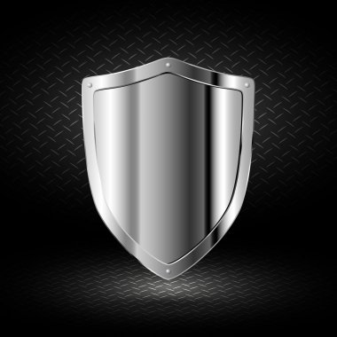 Chrome shield on a dark background