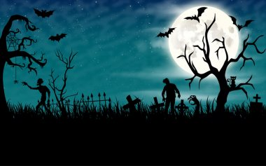 Halloween night wallpaper with zombies and full moon in sky stock vector