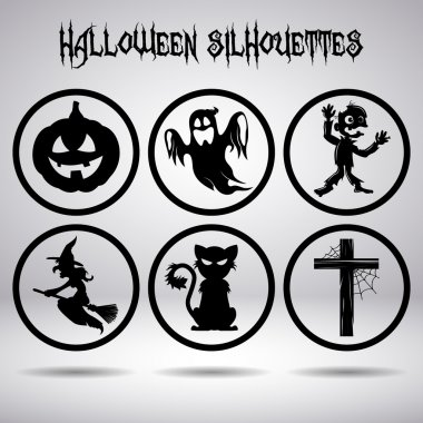Halloween silhouettes in circle