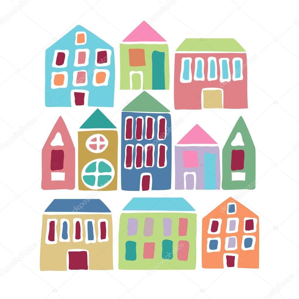 casas coloridas dos desenhos animados vetor de stock ircy 103228326