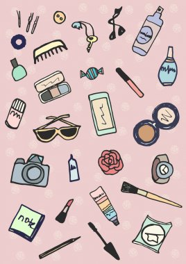 Whats in the bag Hand drawn collection of accessories make-up