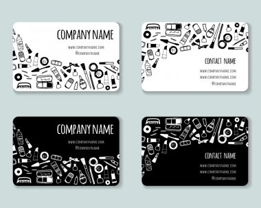 Business creative cards template with beauty items