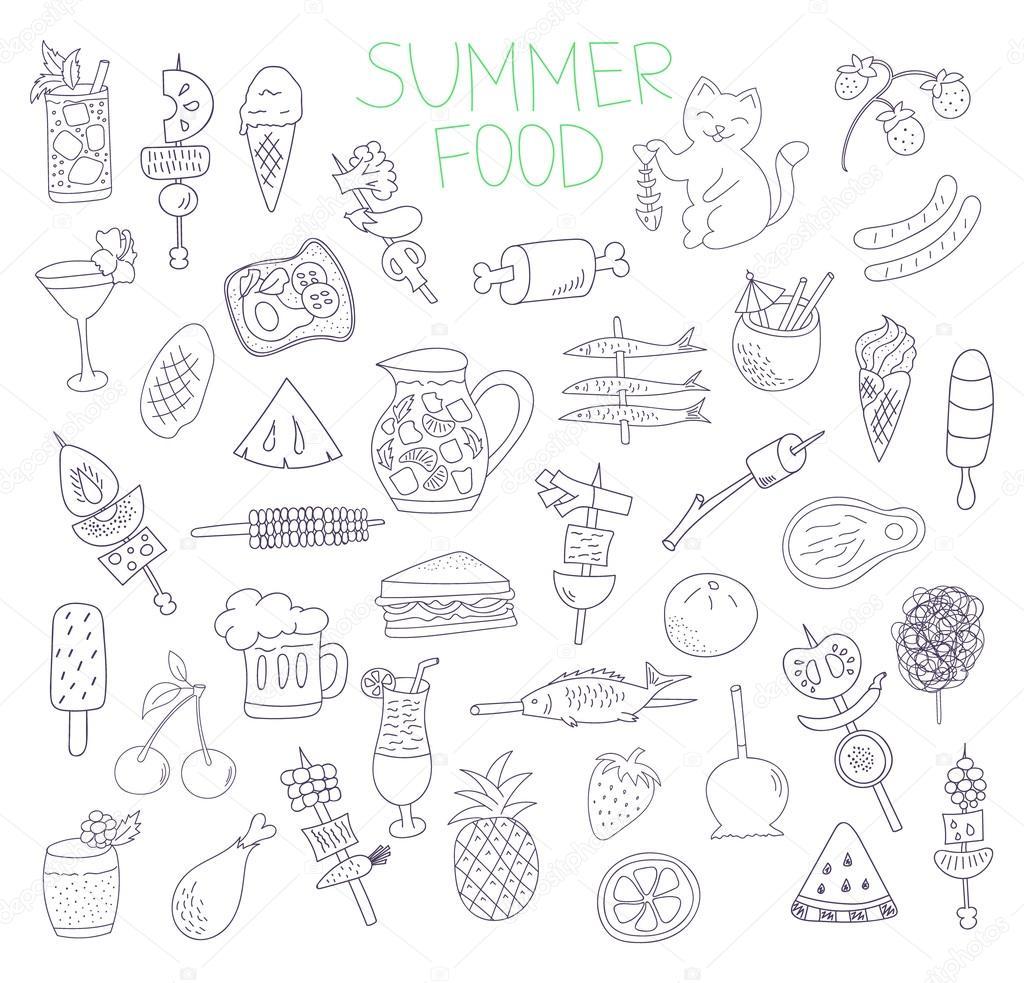 Summer Food Doodles Stock Vector Anasutashiia 83247210