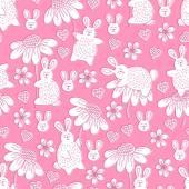 Fényképek Varrat nélküli mintát a nyulak és a virágok