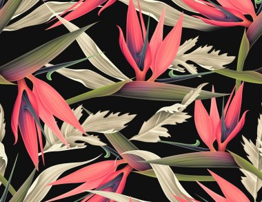 Tropical colorful floral pattern, in Hawaiian style