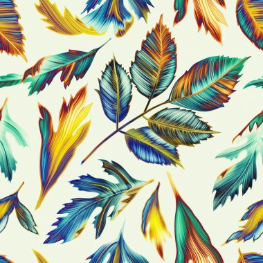 Tropical monstera and palm leaves floral pattern, in Hawaiian style
