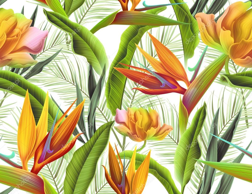 tropical flower plant and leaf pattern background retro