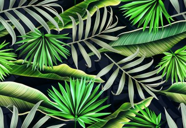 Tropical palm leaves, in Hawaiian style
