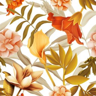 Seamless pattern ,Hawaii jungle flowers