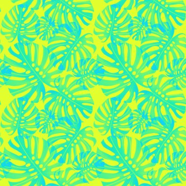 Leaves seamless pattern on yellow background stock vector