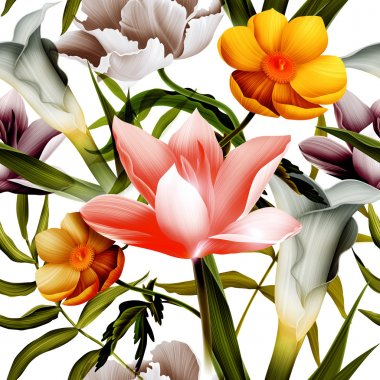Seamless tropical flower, plant and leaf pattern