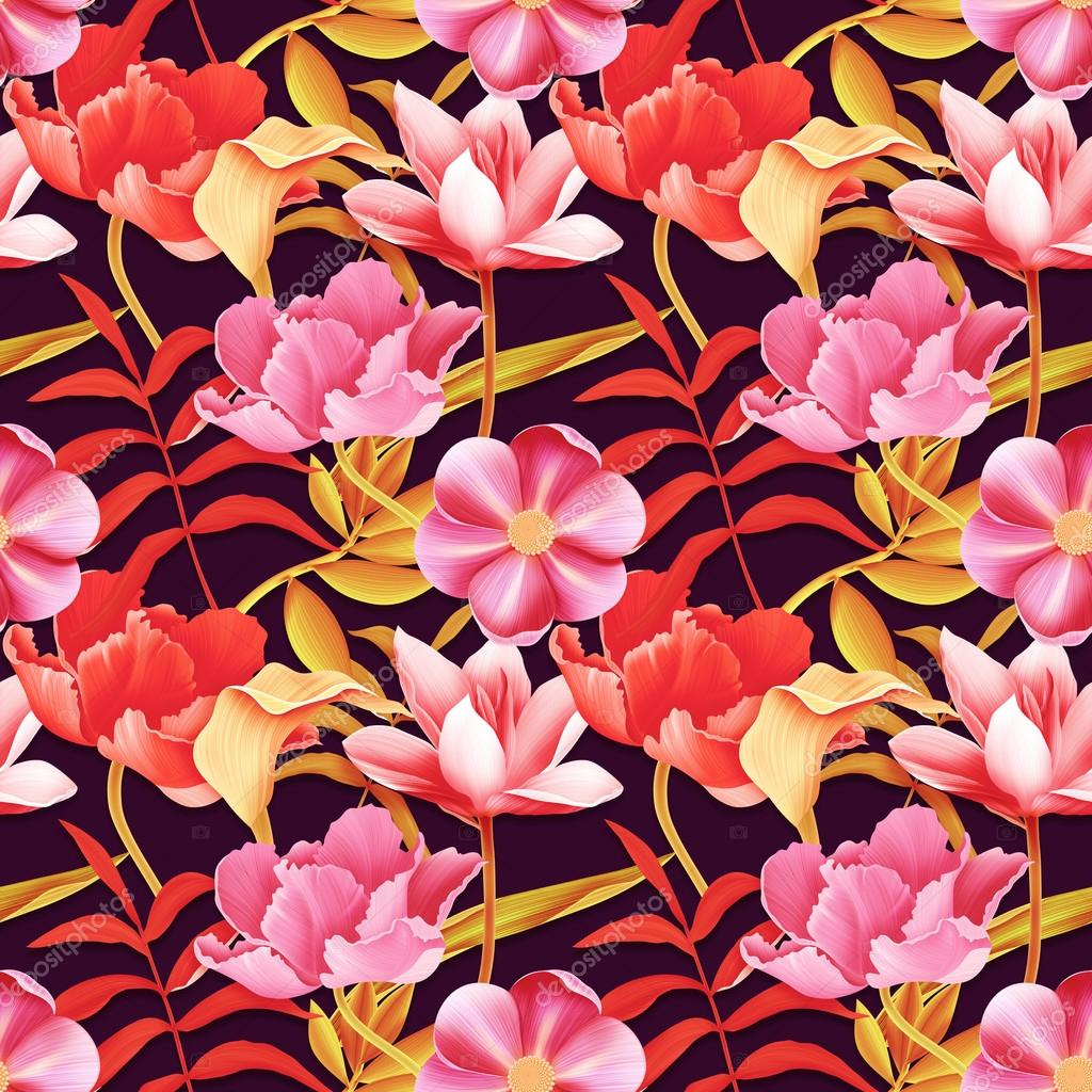 Seamless tropical flower background in hawaiian style stock photo seamless tropical flower background in hawaiian style stock photo izmirmasajfo