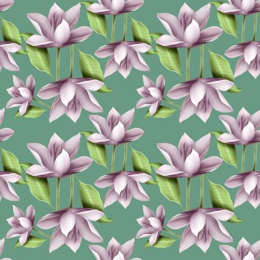 Elegant floral seamless pattern with lotuses