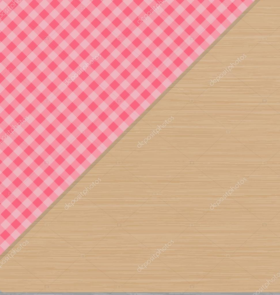 Pink Checkered Tablecloth On Light Brown Wooden Table U2014 Stock Vector  #104883770
