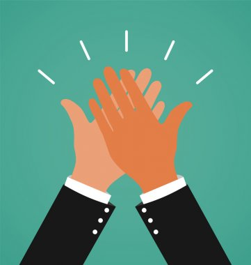 Two Business Hands Giving A High Five For Success Job, Congratulating and Celebration Concept clip art vector