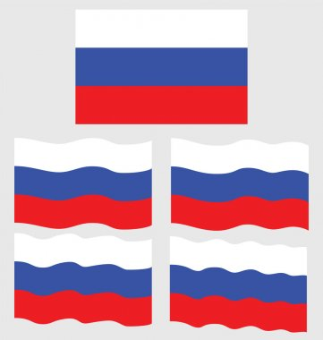 Flat and Waving Flag of Russia