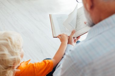 Grandfather reading a book to his grandson