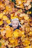 Fotografie Kleiner Junge in Blätter genießen. Herbst Spiele