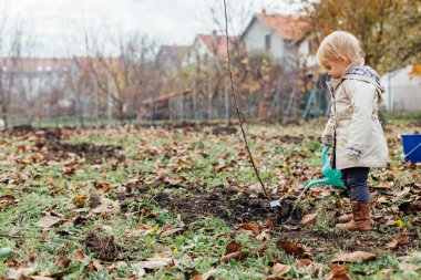 Little girl watering planted seedling