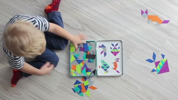 Kid playing with puzzle