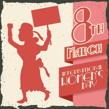 Woman Silhouette Marching in Women's Day Retro Poster, Vector Illustration