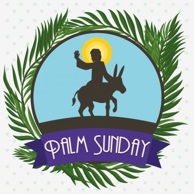 Palms around Circle with Jesus in a Donkey for Palm Sunday, Vector Illustration