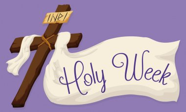 Holy Cross with a Large Fabric with Holy Week Text, Vector Illustration