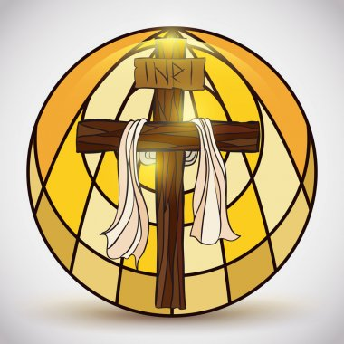 Stained Glass with Holy Cross Symbol Inside, Vector Illustration