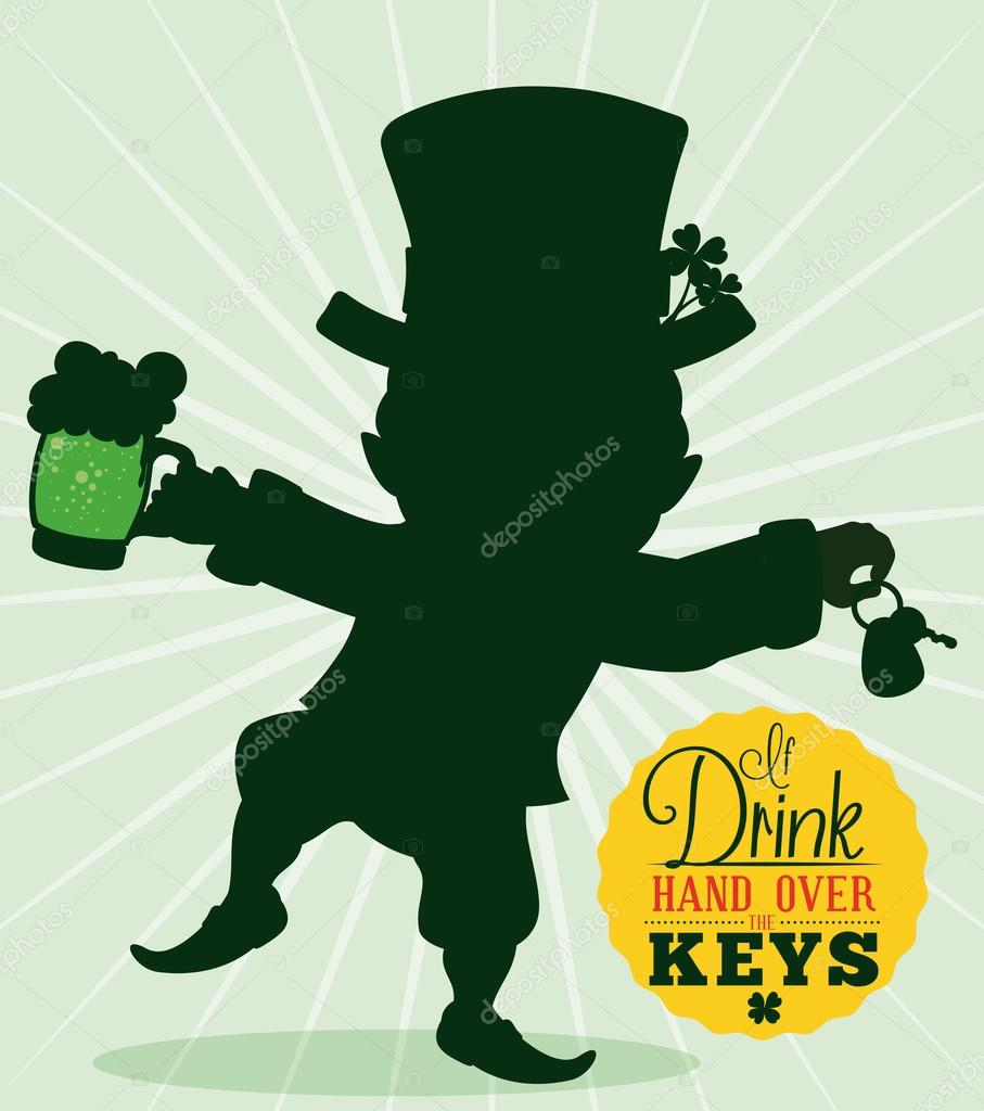 driver reminder safety with leprechaun silhouette  vector