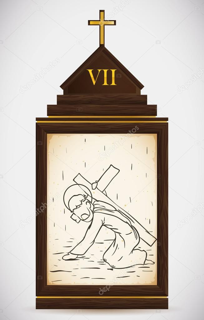 Jesus Falls the Second Time, Vector Illustration