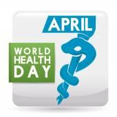 Fotografie Gedenk-Squared Button für Weltgesundheitstag, Vektor-Illustration