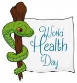 Asklepios-Symbol mit einem Papier für den Weltgesundheitstag, Vektor-Illustration