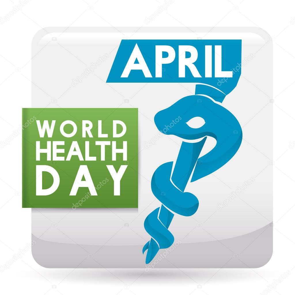 Commemorative Squared Button for  World  Health Day, Vector Illustration