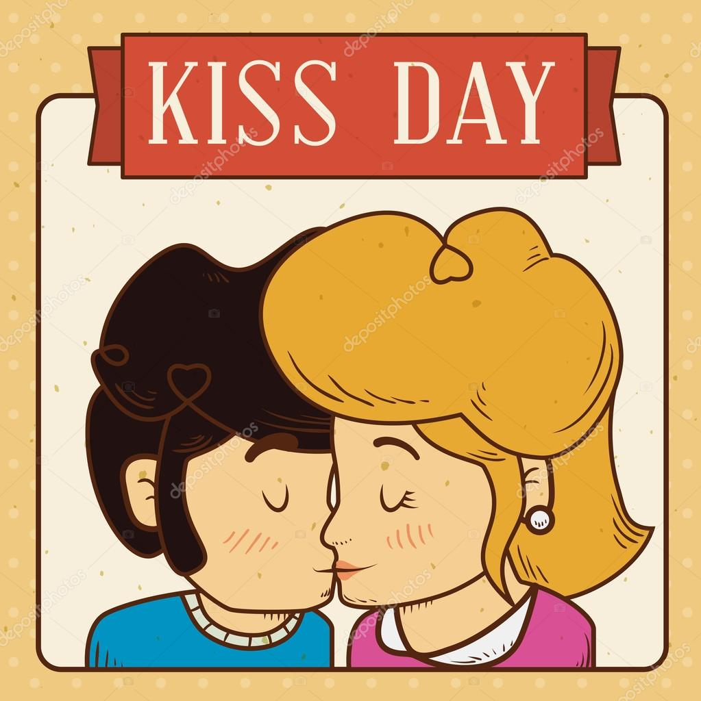 カップルがキス日レトロなデザイン カード、ベクトル図でのキス