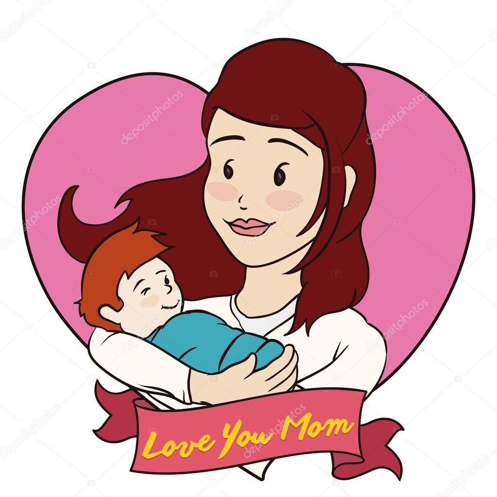 ママと赤ちゃんのベクトル イラスト母の心の中 ストックベクター