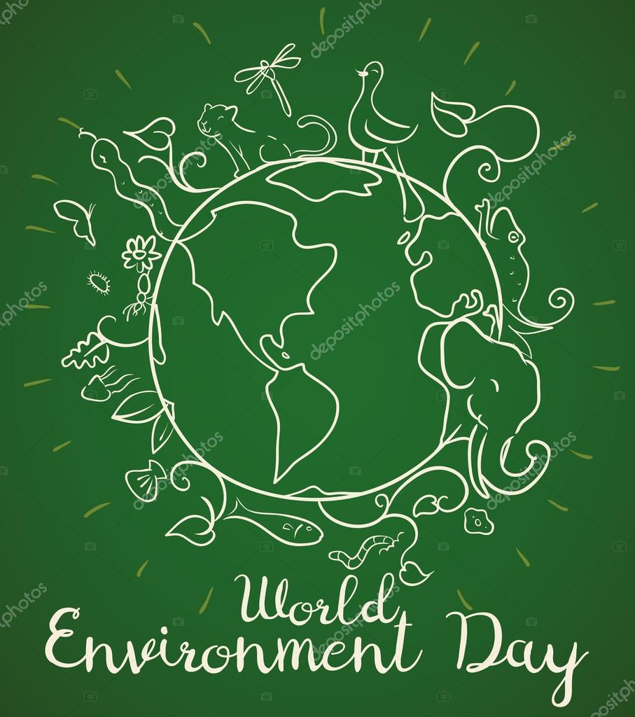 Poster design environment day - Poster For World Environment Day With Animals In Doodle Style Vector Illustration Stock Vector