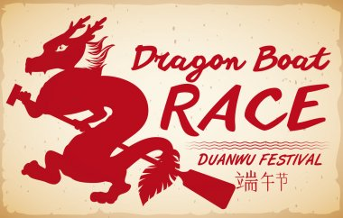 Red Dragon Silhouette for Boat Race Promo in Duanwu Festival, Vector Illustration
