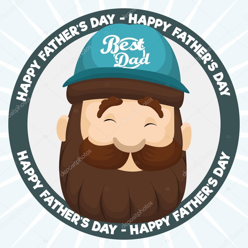 46a4ce372bafd Sonriente a hombre con barba y vistiendo una gorra con el