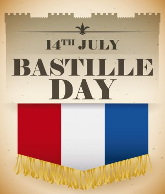 Flag  with Fringes in a Retro Poster with Bastille Day Date, Vector Illustration