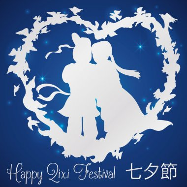 In Love Couple with Magpies Silhouette Around them for Qixi Celebration, Vector Illustration
