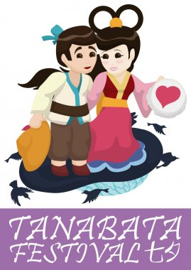 Cute Couple Poster for Tanabata Festival, Vector Illustration