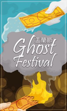 Traditional Passaging of Money Between Realms in Hungry Ghost Festival, Vector Illustration