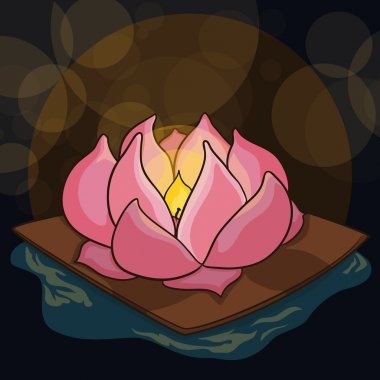Poster with Beauty Lotus to Celebrate Ghost Festival, Vector Illustration