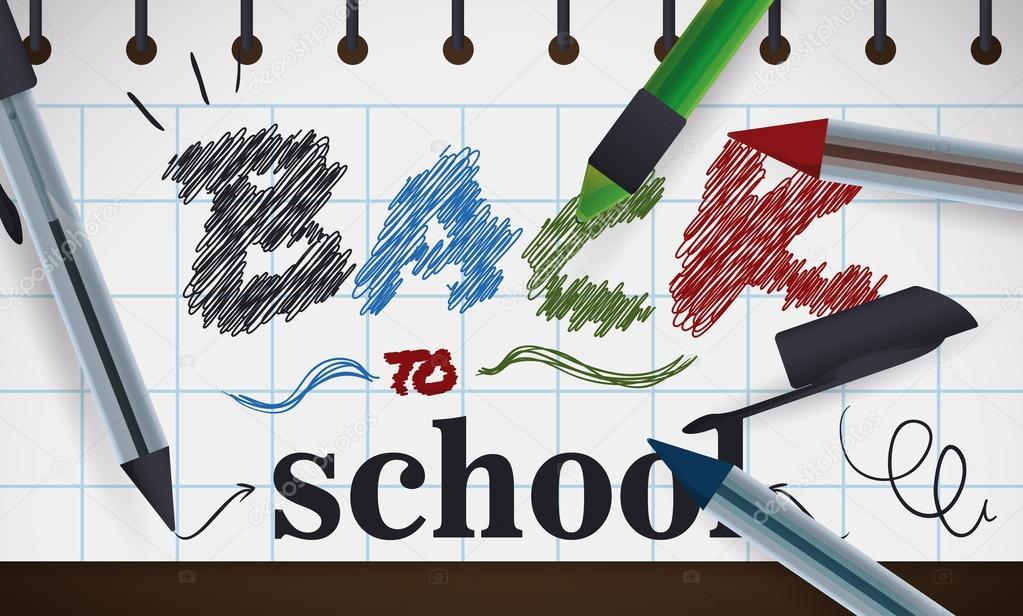 Melden Sie mit zurück zur Schule Nachricht mit Stiften, Vektor ...