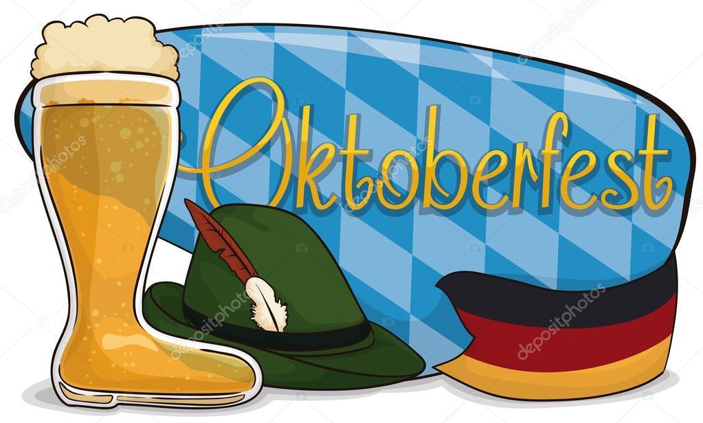 chaussures exclusives chaussures élégantes pas de taxe de vente Botte de bière, feutre chapeau et drapeau allemand pour ...