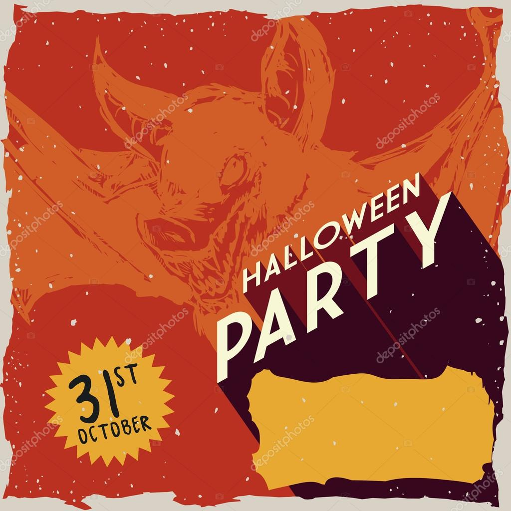 halloween retro poster with realistic bat in background vector