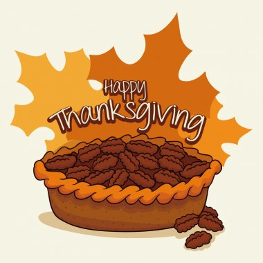 Delicious Thanksgiving Pecan Pie, Vector Illustration